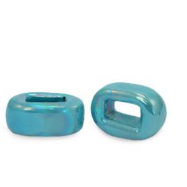 1 x C.U.S sieraden schuiver DQ Grieks keramiek 5x12mm Mosaic blue