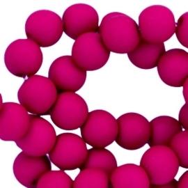 20 stuks Acryl kralen mat rond 6mm Violet red gat c.a.1mm