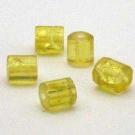 30 stuks crackle glas kralen cilinder vorm 7 x 8mm geel
