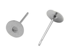 10 stuks oorstekers, nikkelkleur maat 10mm lang 0,7 dik en kop Ø 6mm (geen stopper bijgeleverd!)