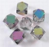5 stuks Luxe glaskraal mix transaparant kubus met facet geslepen  8 mm  assortiment