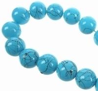10 stuks Glaskraal rond edelsteen look Blauw 12 mm