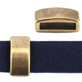 2 x DQ metaal schuiver blokje Antiek brons (nikkelvrij) ca. 8 x 5 mm (Ø 5.2x2.2mm)