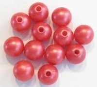 10 stuks Luxe kunststof parel mat rood. 10 mm