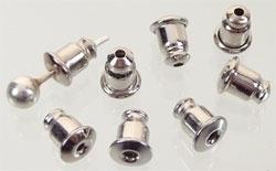 20 stuks nikkelkleurige oorbel stoppers 5 x 6mm of te gebruiken als dopjes voor spelden!