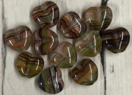 10 stuks glazen hartkralen met lijnen in diverse kleuren 7mm gat 1mm