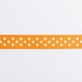 1 Meter Oranje, wit gestippeld lint 10mm breed