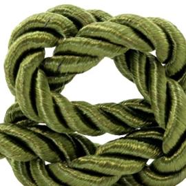 1 rol met 5 meter trendy koord weave c.a. 10mm Olive green (kies voor pakketpost)