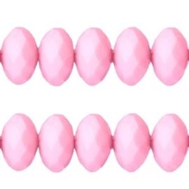 20 stuks Acryl facet kralen disc 6 x 4 mm  Licht roze
