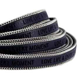 20 cm Quote imi leer 10mm met schakelketting zilver Love life Dark midnight blue ♥