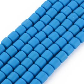 40 x handgemaakte polymeer klei kralen dodger blue 6,5 x 6mm gat: 1,2mm