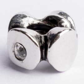 Be Charmed kraal zilver met een rhodium laag (nikkelvrij) c.a. 10 x4 mm groot gat: 4.3mm