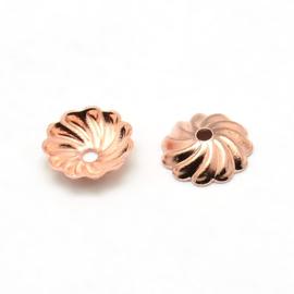 10 stuks kralenkapjes Tibetaans Zilver, Rose gold 7x2mm, gat: 1mm