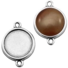 1x DQ metaal settings 2 ogen voor 12 mm cabochon Antiek zilver ca. 25 x 16 mm (voor cabochon 12mm)