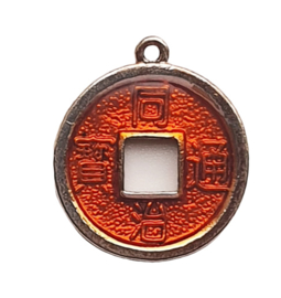 2 x Chinese geluksmunt emaille 20 x 23mm oogje: 1,5mm rood bruin