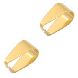 1 x Roestvrij stalen (RVS) Stainless steel onderdelen buighanger ovaal voor bedel 9x5,5mm Goud