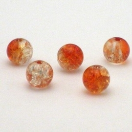 30 stuks crackle glas kralen 8mm oranje transparant