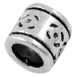 5 x Tibetaans zilveren European Jewelry bedel  7,5 x 8mm Gat: 5,5mm
