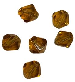 20 x Pesciosa bicone kristal kralen 4 mm gat 1 mm licht bruin