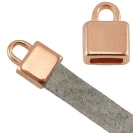 DQ metaal eindkapje vierkant (voor 5mm plat leer) Rosé goud  ca. 7x6x5mm Ø 5.2x2.2mm