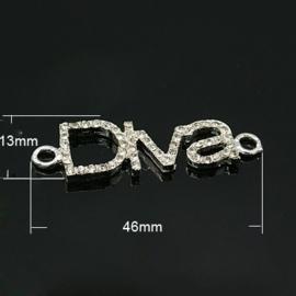 Schitterende tussenzetsel Diva met strass 13x 46 x 3mm gat: 2mm