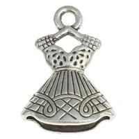 4 x tibetaans zilveren bedel van een jurk 16 x 22 x 6mm gat: 2,5mm