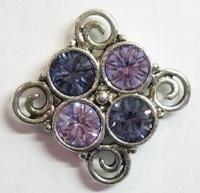 Per stuk Luxe metalen hanger met Swarovski kristal paars/lila 27 mm