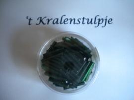 Pracht - glasstiften buisjes met zilverinslag 15mm 17 gram donker groen