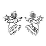 Grote Tibetaans zilveren Engelen hanger 52 x 38 x 3mm, Oogje 3mm