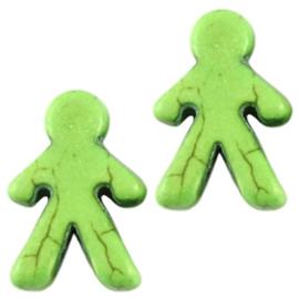 10 x Keramiek Poppetje kraal Licht groen 16x23 mm