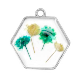 1 x Bedels met gedroogde bloemetjes hexagon Silver-green yellow
