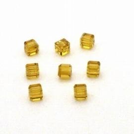 6x Preciosa Handgeslepen kristal kraal 4mm amber
