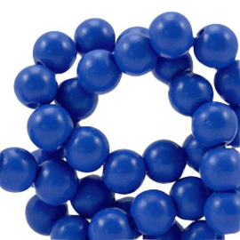10 x 8 mm glaskraal half mat Cobalt blue