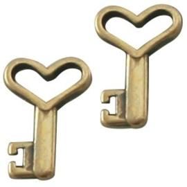 2 x DQ metaal bedel sleutel Antiek Brons 13x9 mm