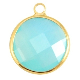 Crystal glas hanger rond 16mm Aqua blue opal-Gold