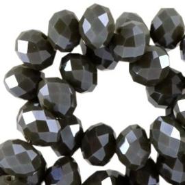 15 x Top facet kralen 8x6mm disc Dark army green pearl diamond coat