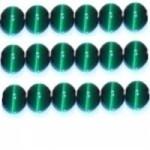 10 Stuks Glaskraal cat-eye donker groen 8 mm