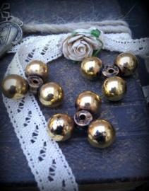 5 x antiek gouden metallook kraal met 3 bolletjes 18 mm