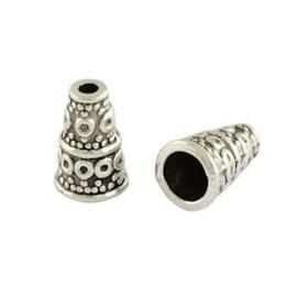 5 x DQ Antiek Zilver Kralenkapje 10x7 mm gat:1.5-4 mm