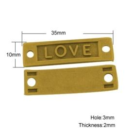 "Prachtige tussenzetsel ""Love""  35 x 10 x 2mm   gat: 3mm goudkleur"