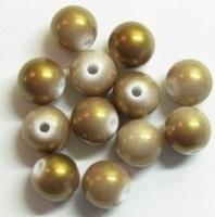 10 stuks Luxe kunststof kraal rond l.bruin met mooie gouden glans 10mm