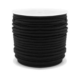 1 meter gekleurd elastisch draad van rubber voorzien van een laagje stof 1,5mm Black
