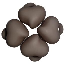 5 x Acryl bedel hart Grijs 15 x 15 x 10mm; gat 3mm