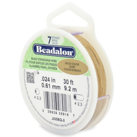 1 rol 7 Strand Bead Stringing Wire 0,61 mm Gold 9,2 meter