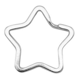 1 x Sleutelhangers ster 34mm Antiek zilver