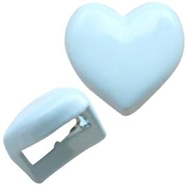 Per stuk Chill metalen schuiver hart pastel light blue c.a. 10mm