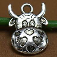 4 x Tibetaans zilveren bedel van een koe 16 x 12mm oogje: 2mm