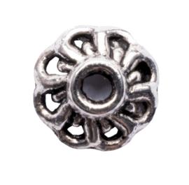 10 x metalen kralenkapje zilver kleur 9,5 x 3mm gat: 1,5mm