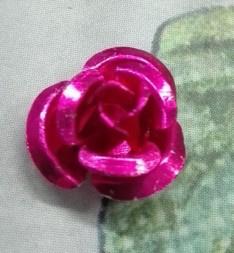 15 x  roosje roze 10mm Gat: 1mm