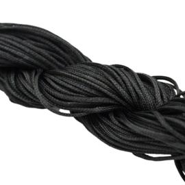 Bundel met 24 meter gevlochten nylon koord 1mm kleur zwart